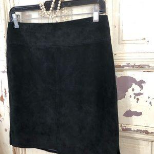 Suede skirt black leather Ralph Lauren A16